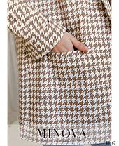 """Чудовий жіночий бежевий піджак принт """"гусяча лапка"""", великого розміру від 48 до 62, фото 3"""
