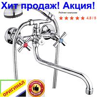 Смеситель для ванны ZEGOR DMT 7A двух вентильный гусак 35 cм.