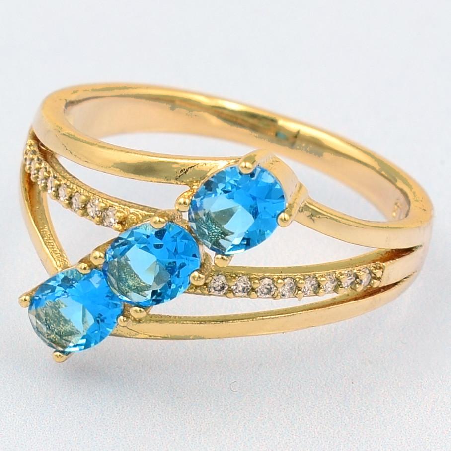 XUPING Кольцо Позолота 18к с голубыми и белыми цирконами, Размер 16