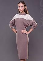 Женское платье миди с кружевом трикотажное