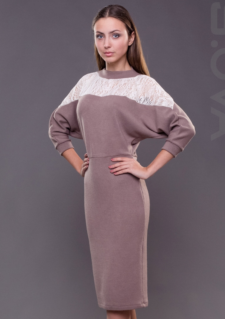 Женское платье миди с кружевом трикотажное - Интернет-магазин женской  одежды