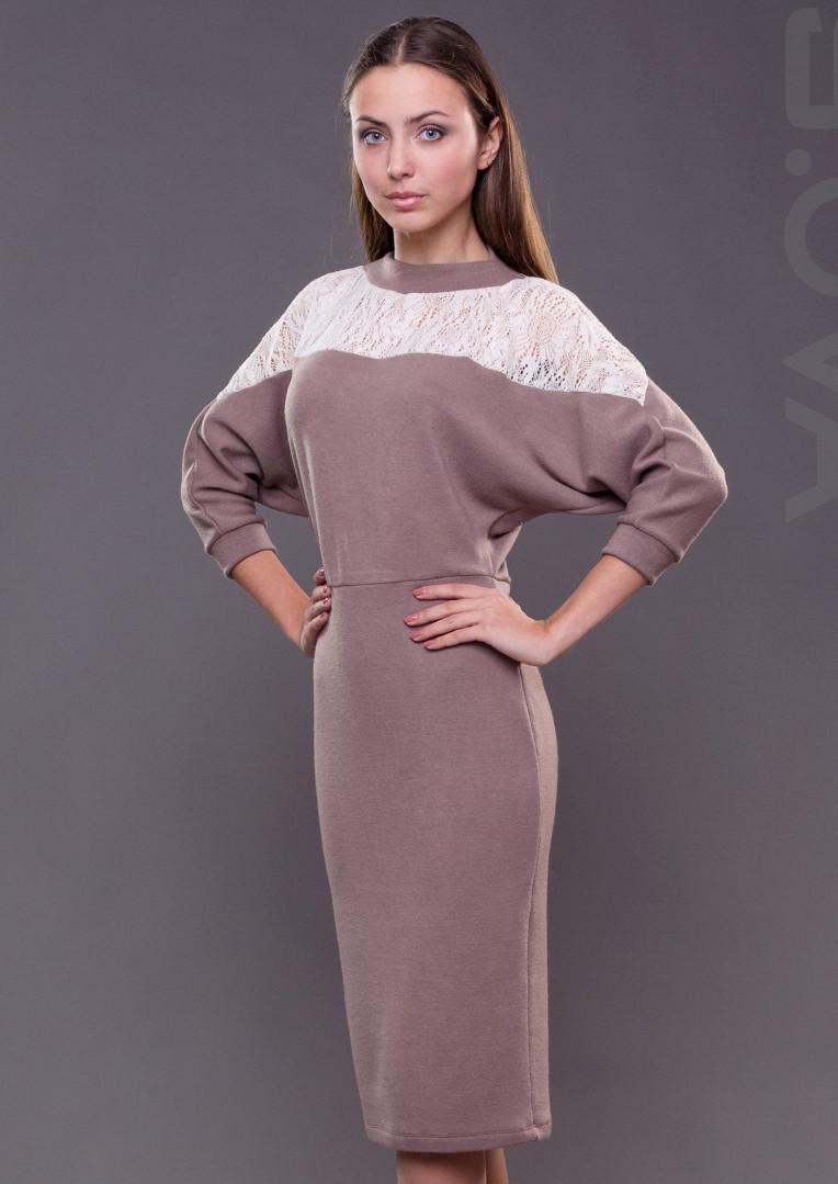 061be2dfeb5 Женское платье миди с кружевом трикотажное - Интернет-магазин женской  одежды