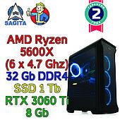 Игровой компьютер Ryzen 5 5600X (6 x 4.6GHz) + X570 + 32Gb DDR4 + SSD 1Tb + RTX 3060 Ti 8Gb
