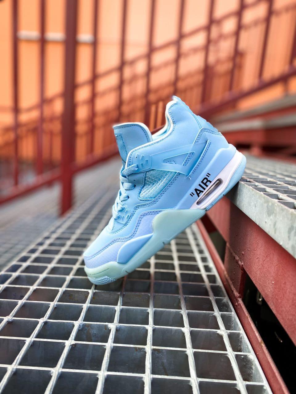 """Женские баскетбольные кроссовки Off-White x Air Jordan 4 Retro Mid """"Pure Blue"""""""