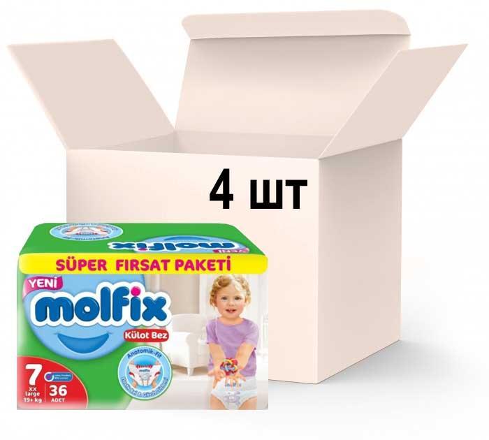 Упаковка подгузников-трусиками Molfix Jumbo 7 xxlarge 19+кг 4 пачки х 36 шт (8690536842650)