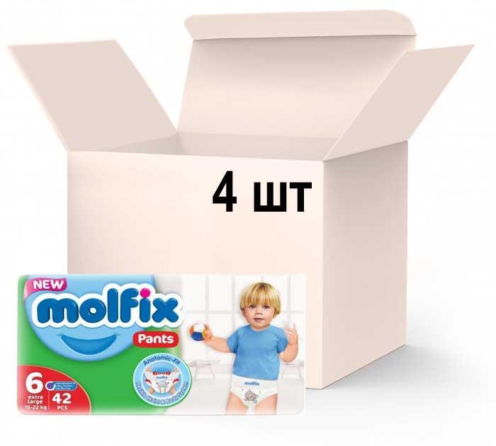 Упаковка подгузников-трусиками Molfix Jumbo 6 extra large 15-22 кг 4 пачки х 42 шт (8690536842735)