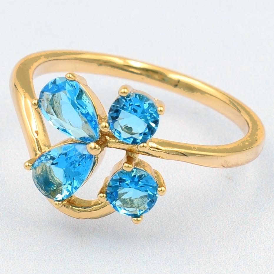 XUPING Кольцо Позолота 18к с голубыми цирконами, Размер 16.5