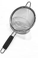 Сито кухонне нержавійка з чорною пластиковою ручкою 18 см