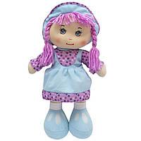 Мягкая игрушка кукла с вышитым лицом, 36 см, голубое платье (860814)