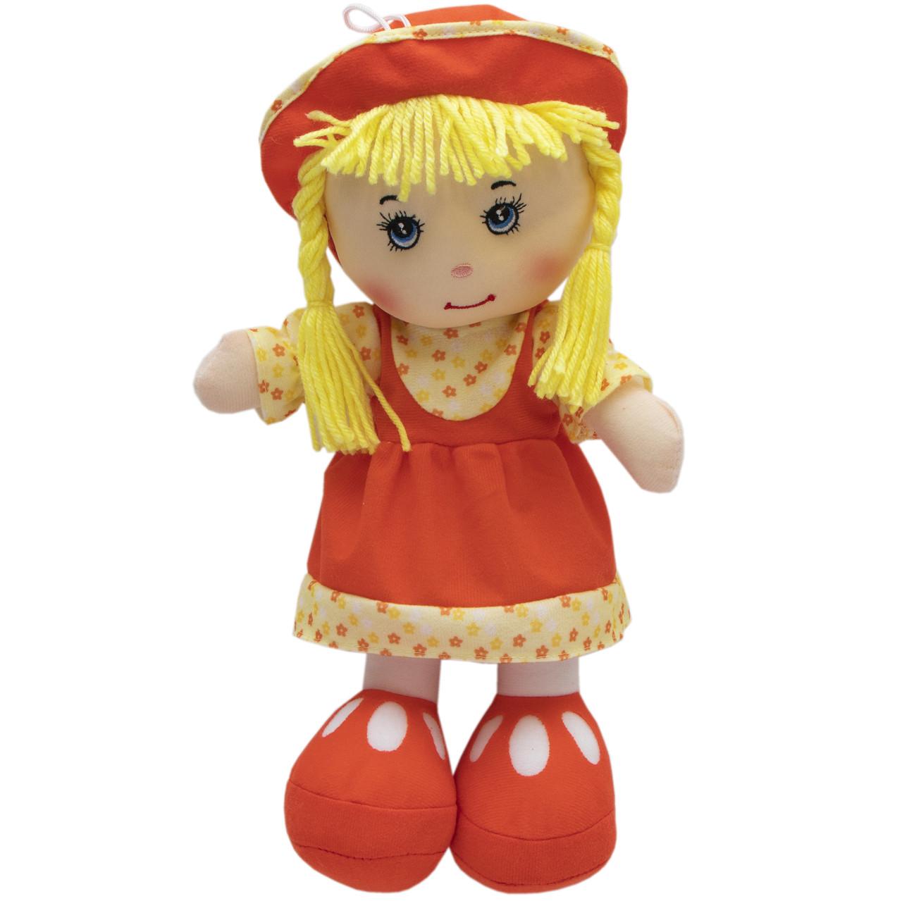 Мягкая игрушка кукла с вышитым лицом, 36 см, красное платье (860821)