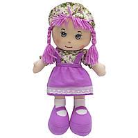 Мягкая игрушка кукла с вышитым лицом, 36 см, сиреневое платье (860852)