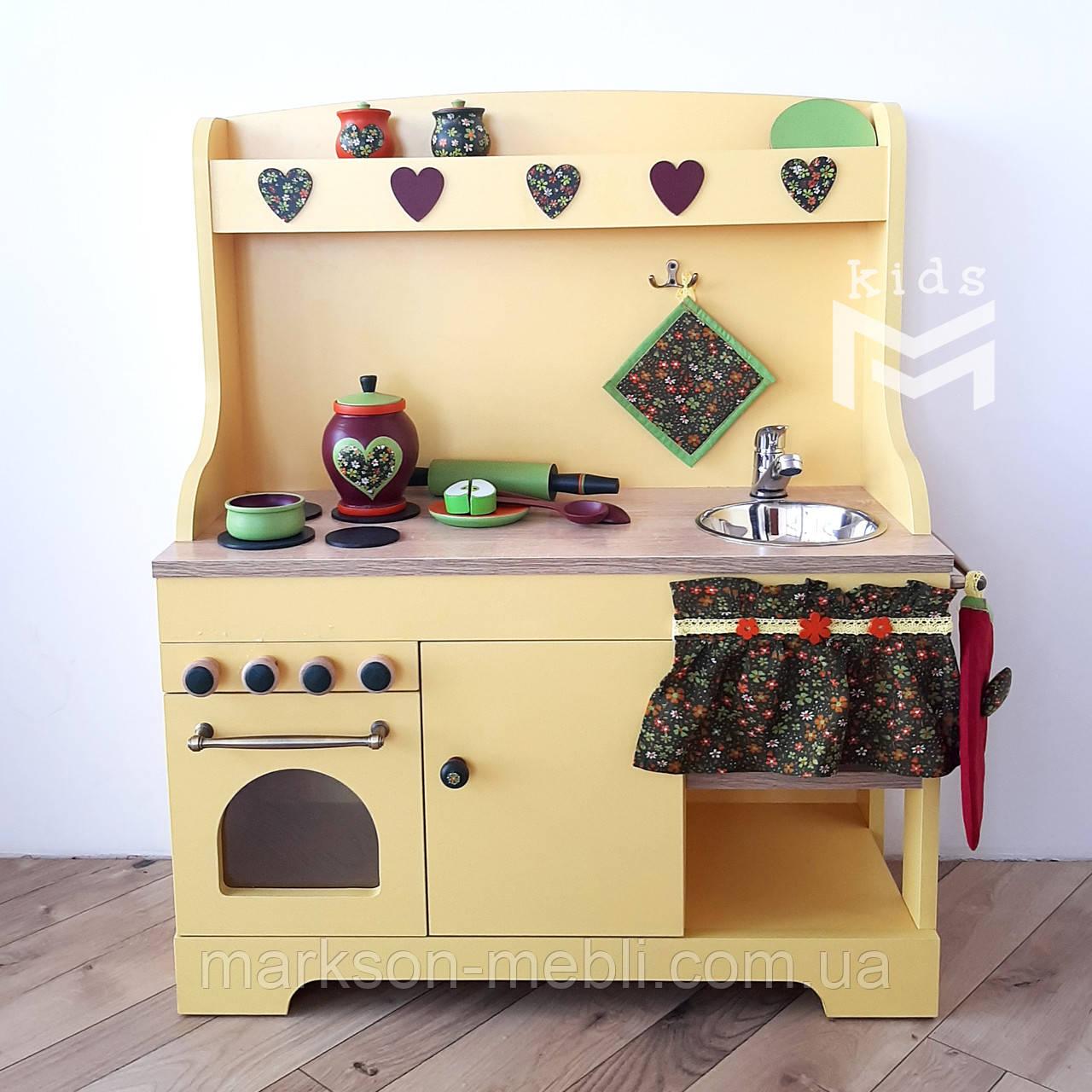Дитяча кухня з набором посуду - Жовта