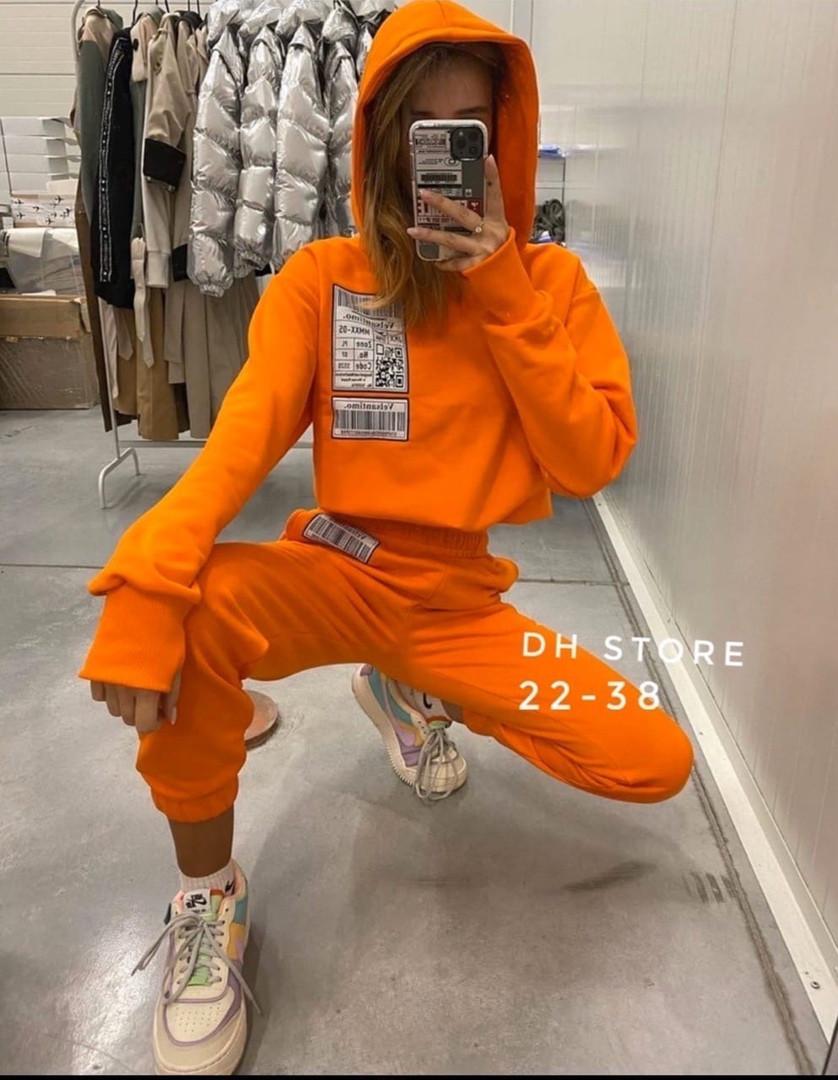 Жіночий спортивний костюм, двунить, р-р С-М; М-Л (помаранчевий)