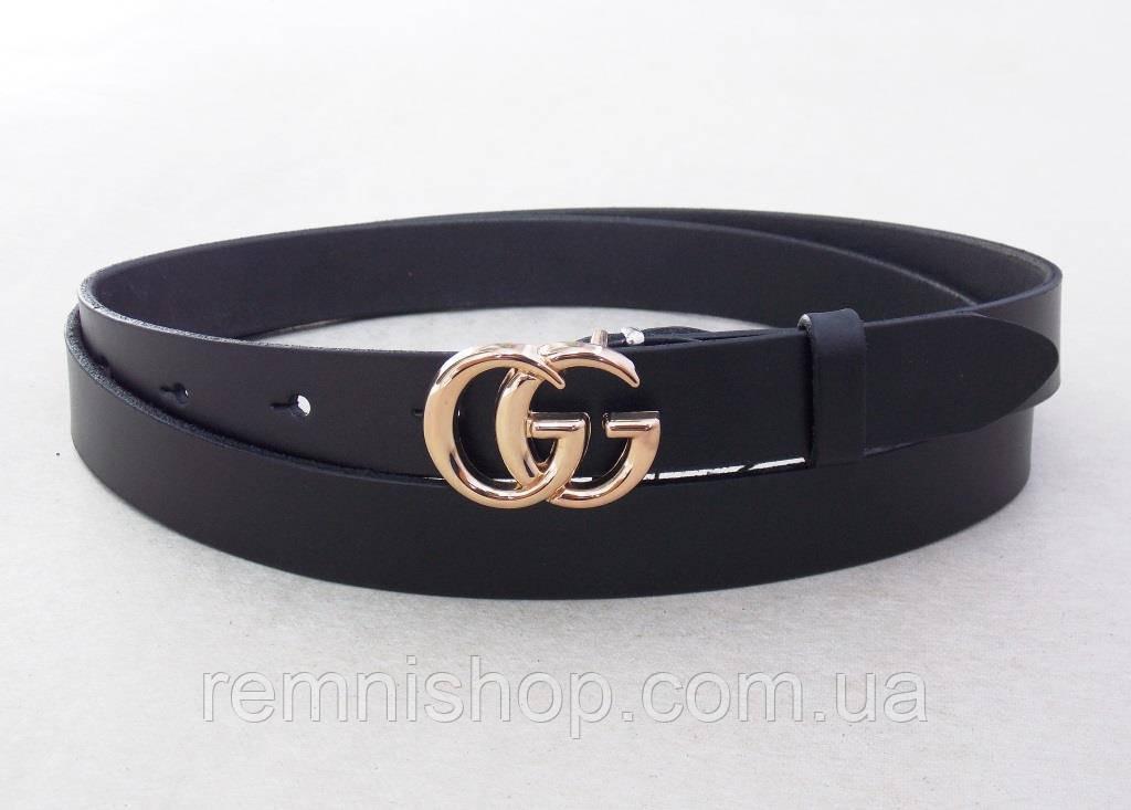 Женский черный кожаный тонкий ремень GG