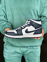 Баскетбольные кроссовки Air Jordan 1 Retro Mid Blue/White, фото 2