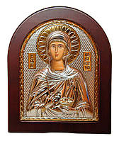 Серебряная икона Святая Параскева 15,6х19см с позолотой в арочном киоте с дерева