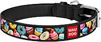 36931 Collar WauDog Design Пончики кожаный ошейник черный, 30-39см/20мм