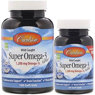 Carlson Labs Super Omega-3 риб'ячий жир з натуральної нефермерской риби холодних морів 1200 мг на порцію 130 РК