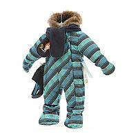 Зимний комбинезон детский с меховой опушкой и аксессуарами Gusti Boutique, (на рост 68 и 90 см)