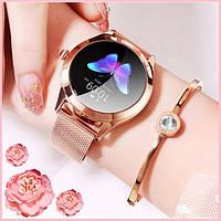 Женские умные смарт часы Smart Girl золотистого цвета стильные сенсорные многофункциональные наручные часы