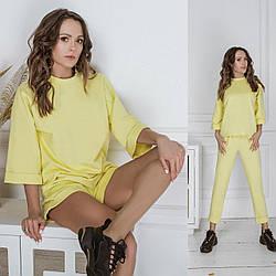 Женский прогулочный костюм-тройка: кофта+джоггеры+шорты Diva СТ-162yellow