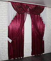 Ламбрекен и шторы из атласа и шифона. на карниз 2м.  Модель №110. Цвет бордовый с белым