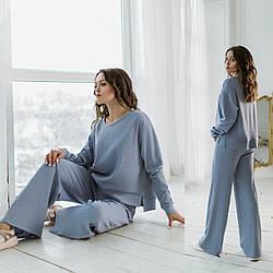 Жіночий прогулянковий костюм-двійка: кофта та штани Diva MS-161skyblue