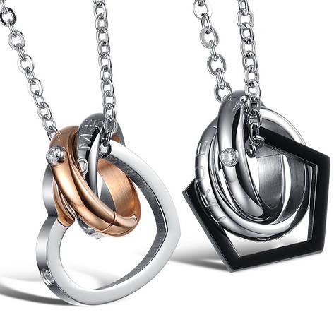 Модные парные кулоны кольца для двоих влюбленных медицинская сталь позолота цирконий гравировка, фото 2
