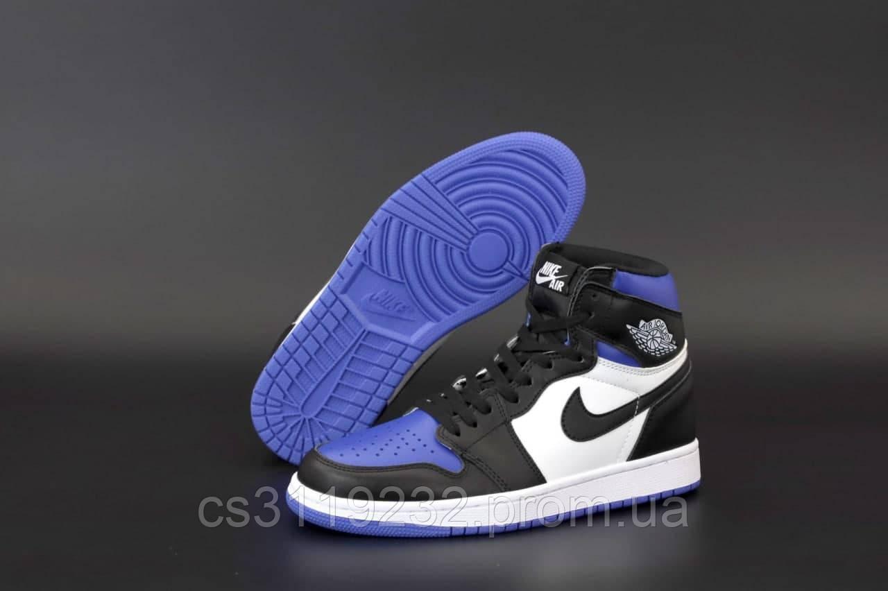 Женские кроссовки Air Jordan 1 Retro (голубой/черный)