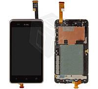 Дисплейный модуль (дисплей + сенсор для HTC Desire 400 Dual Sim, с передней панелью, белый, оригинал