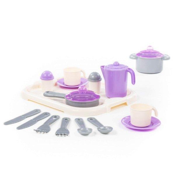 Набор игрушечной кухонной детской посуды «Настенька» с подносом на 2 персоны.