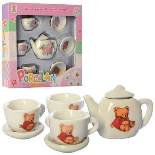 Іграшкова дитяча посуд, чайний сервіз на 3 персони, фарфор, 2 види (ведмедик,квіти)
