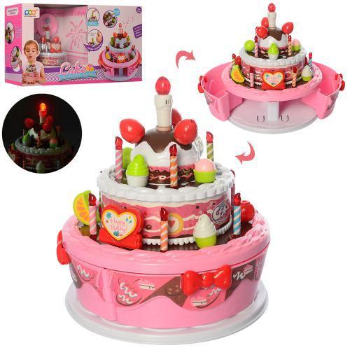 Іграшкові продукти, солодощі, торт, музичний світло, батар
