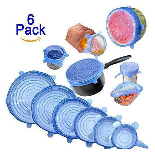 Набір силіконових кришок для посуду 6 шт універсальні. Колір: зелений