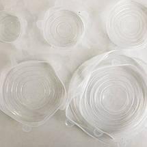 Набір силіконових кришок для посуду 6 шт універсальні. Колір: зелений, фото 3