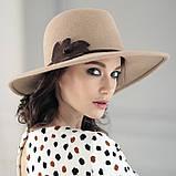 Шляпа из фетра мужского стиля цвет ярко синий поля 10 см, фото 4