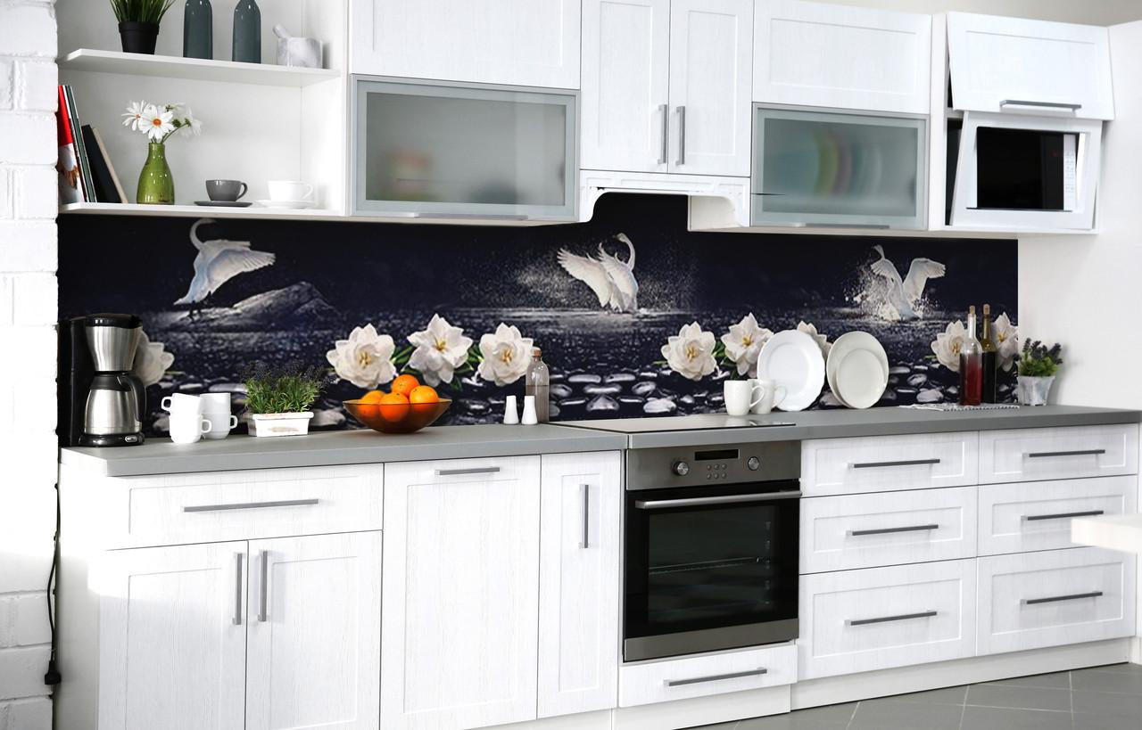 Самоклеющаяся Пленка для Фартука  Лебединое озеро наклейка на стену 60х250см Птицы