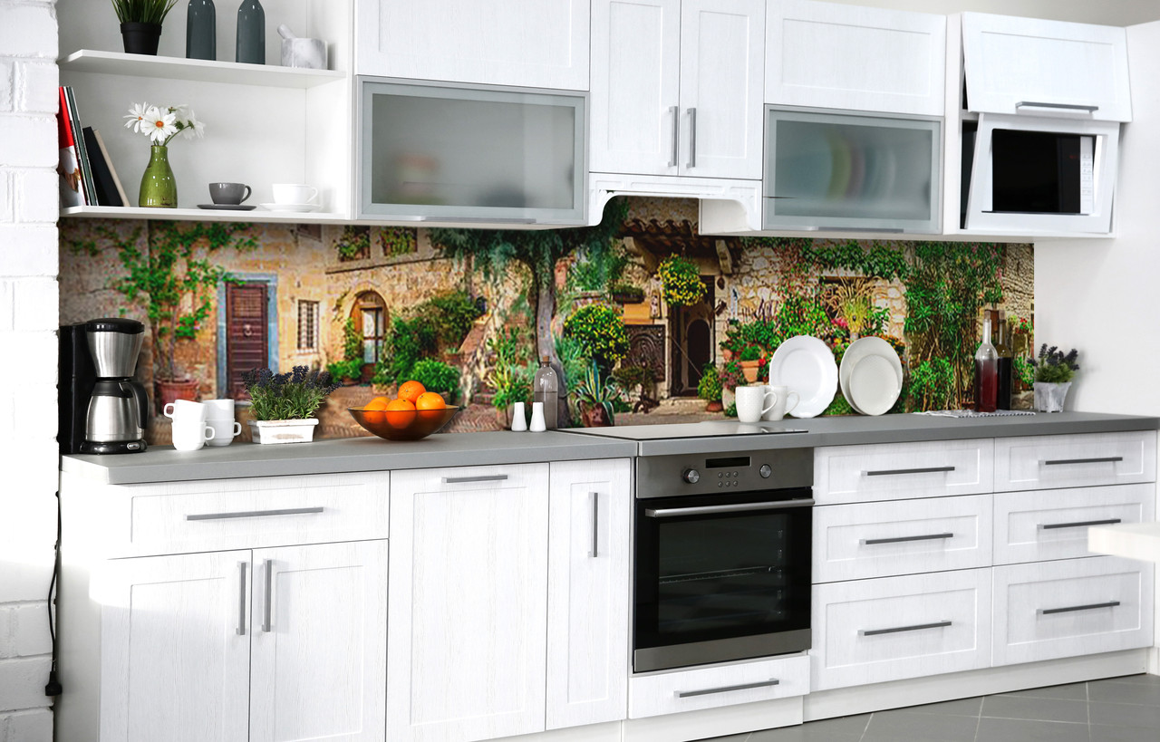Кухонний фартух 3Д плівка Дворик Верони фотодрук наклейка на стіну 60х250см Архітектура