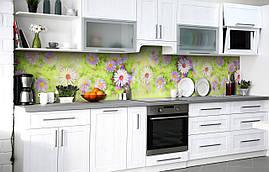 Самоклеющаяся Пленка для Фартука  Ромашки Сентябринки наклейка на стену 60х250см Цветы Зеленый