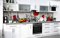 Самоклеющаяся Пленка для Фартука  Париж и красные Розы наклейка на стену 60х250см Архитектура Винтаж серый, фото 1