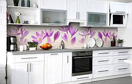 Самоклеющаяся Пленка для Фартука  Нежные Крокусы наклейка на стену 60х250см Цветы Фиолетовый