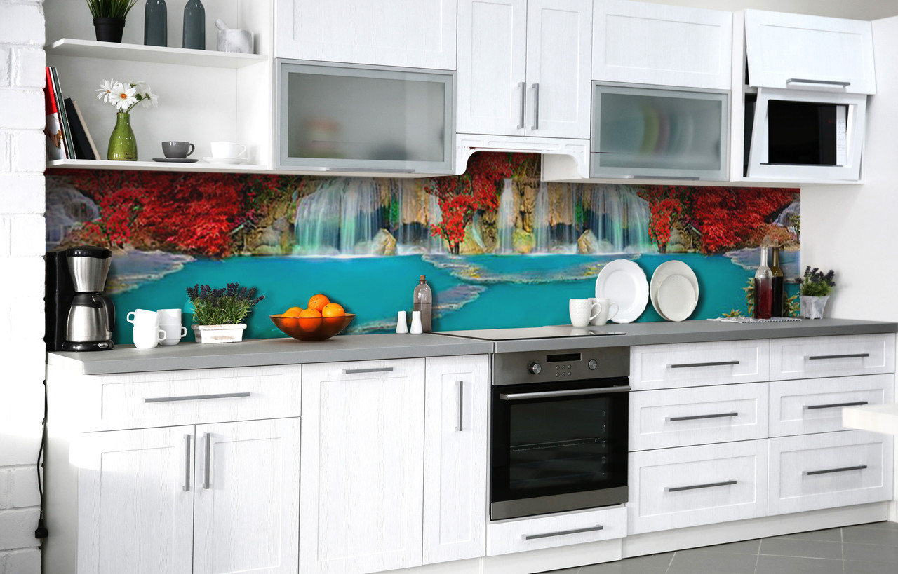 Кухонний фартух 3Д плівка Загублений острів фотодрук наклейка на стіну 60х250см пейзаж