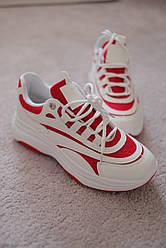 Женские кроссовки белые с красными полосками 36-38 новинка