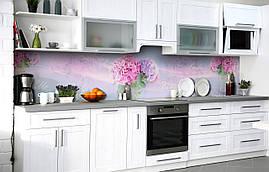 Кухонний фартух 3Д плівка Лілова гортензія фотодрук наклейка на стіну 60х250см Квіти Блакитний