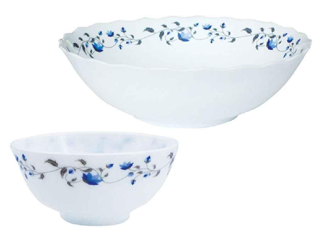 """Салатники склокерамічні 7 штук Синій квітка JLG075/S """"LUMINES"""""""