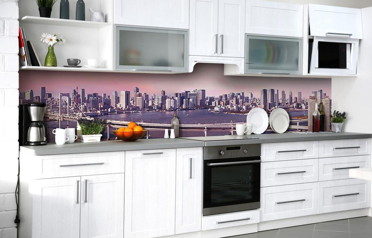 Кухонный фартук 3Д пленка Деловой центр фотопечать наклейка на стену 60х250см пейзаж
