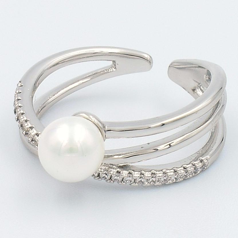 XUPING Кольцо Родий жемчужинка с белыми цирконами Размер 16.5