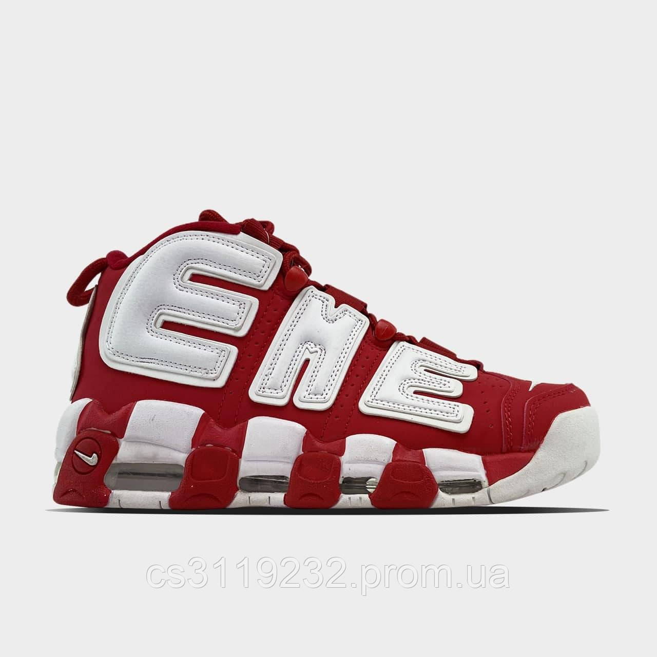 Мужские кроссовки Nike Air More Uptempo Red Supreme (красно-белые)