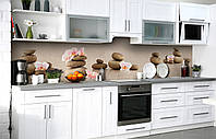 Кухонний фартух 3Д плівка Округлі Камені фотодрук наклейка на стіну 60х250см Текстура Бежевий, фото 1