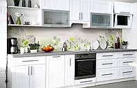 Самоклейка Плівка для фартуха Квітковий напіввінок Білі Лілії наклейка на стіну 60х250см Квіти Зелений, фото 1